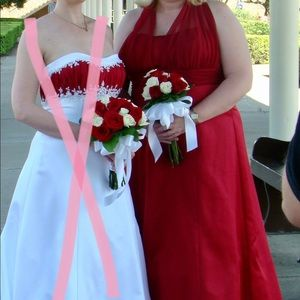Red Halter Bridesmaid Gown